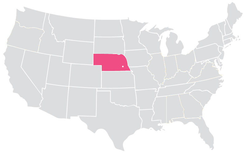 Our Locations Hospice Community Care Of Nebraska - Nebraska on the us map